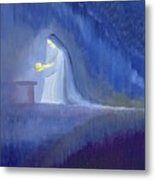 The Virgin Mary Cared For Her Child Jesus With Simplicity And Joy Metal Print by Elizabeth Wang