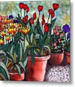 Tulips In Clay Pots Metal Print by Linda Marcille