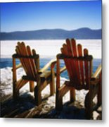 Two Adirondack Chairs  Metal Print by George Oze