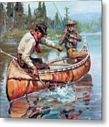 Two Fishermen In Canoe Metal Print by Phillip R Goodwin