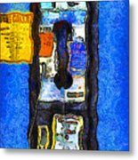Van Gogh.s Pay Phone . 7d15934 Metal Print by Wingsdomain Art and Photography