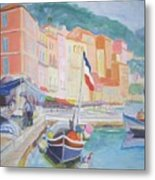 Ville Franche Boat Metal Print by Pixie Glore