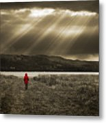 Watching In Red Metal Print by Meirion Matthias