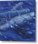 Whales Under The Surface-is That Moby Dick On The Bottom Metal Print by Tanna Lee M Wells