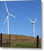 Wind Energy Wind Turbines In A Field Washington State. Metal Print by Gino Rigucci