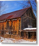 Winter Barn - Chatham New Hampshire Metal Print by Thomas Schoeller