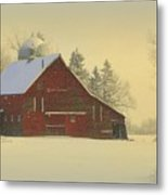 Wintery Barn Metal Print by Julie Lueders