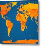 World Map In Orange And Blue Metal Print by Michael Tompsett