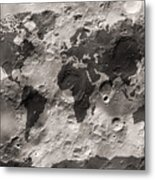 World Map On The Moon's Surface Metal Print by Michael Tompsett