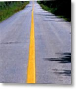 Yellow Dividing Line Marking An Empty Road Between Uxmal And Kabah Metal Print by Sami Sarkis