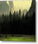 Yosemite Valley Golden . Vertical Metal Print by Wingsdomain Art and Photography