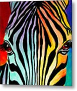 Zebra - End Of The Rainbow Metal Print by Alicia VanNoy Call