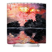 Sunset. After Storm. Shower Curtain by Sergey Bezhinets
