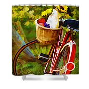 A Loaf Of Bread A Jug Of Wine And A Bike Shower Curtain by Elaine Plesser