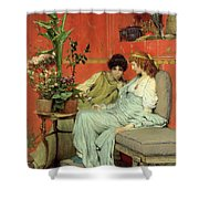 Confidences Shower Curtain by Sir Lawrence Alma-Tadema