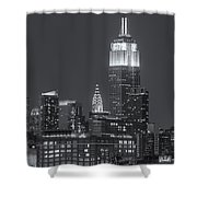 Empire State And Chrysler Buildings At Twilight II Shower Curtain by Clarence Holmes