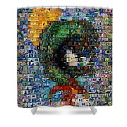 Marvin The Martian Mosaic Shower Curtain by Paul Van Scott