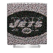 New York Jets Bottle Cap Mosaic Shower Curtain by Paul Van Scott