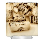 Sepia Corks Shower Curtain by Cheryl Young