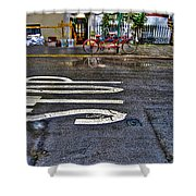 Tandem Bicycle Parked On Grove Street Shower Curtain by Randy Aveille