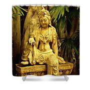 Tropical Buddha Shower Curtain by Cheryl Young
