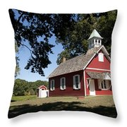 Little Red School House  Throw Pillow by Charles Kraus
