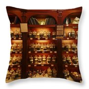 A Display Of Tea In A Tea Shop Throw Pillow by Richard Nowitz