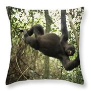 A Gorilla Swinging From A Vine Throw Pillow by Michael Nichols