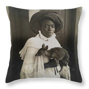 A Young Kenyan Woman Holds Her Pet Deer Throw Pillow by Underwood And Underwood