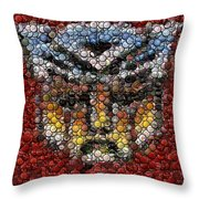 Autobot Transformer Bottle Cap Mosaic Throw Pillow by Paul Van Scott