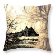 Barn Out Back 2 Throw Pillow by Cheryl Young