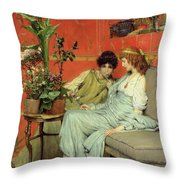 Confidences Throw Pillow by Sir Lawrence Alma-Tadema