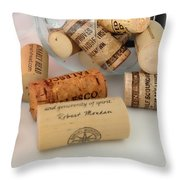 Corks Throw Pillow by Cheryl Young