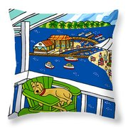July 4th Snoozer - Cedar Key Throw Pillow by Mike Segal