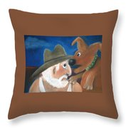Mans Best Mate Throw Pillow by Caroline Peacock