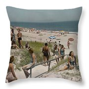 Sunbathers And Beach Umbrellas Dot Throw Pillow by Willard Culver