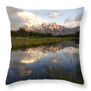Sunrise Reflection At Schwabacher Landing Throw Pillow by Paul Cannon