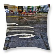 Tandem Bicycle Parked On Grove Street Throw Pillow by Randy Aveille