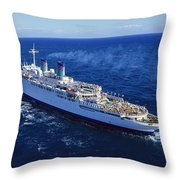 The American Hawaii Cruise Ship Leaving Throw Pillow by Maria Stenzel