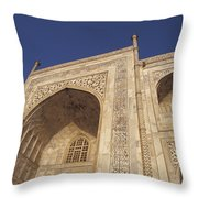 The Taj Mahals Pristine White Marble Throw Pillow by Jason Edwards