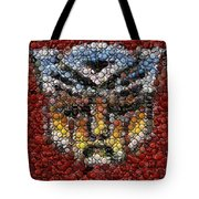 Autobot Transformer Bottle Cap Mosaic Tote Bag by Paul Van Scott