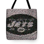 New York Jets Bottle Cap Mosaic Tote Bag by Paul Van Scott