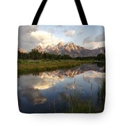 Sunrise Reflection At Schwabacher Landing Tote Bag by Paul Cannon