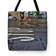 Tandem Bicycle Parked On Grove Street Tote Bag by Randy Aveille