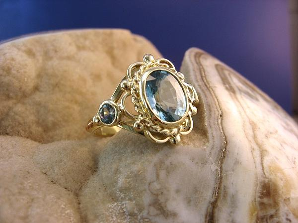Big Golden Beauty With Aquamarine - Ring Jewelry by Leo Wildner