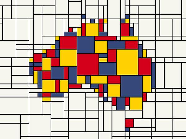 Cartography Digital Art -  Mondrian Inspired Australia Map by Michael Tompsett
