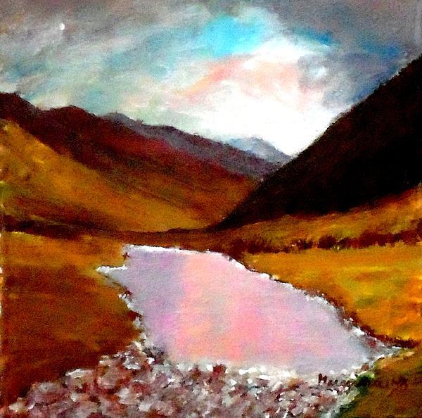 Lake Painting -  Mountain Landscape by Mauro Beniamino Muggianu