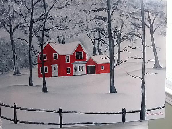 Red House Painting -  Red House In The Snow by Kathy Livermore
