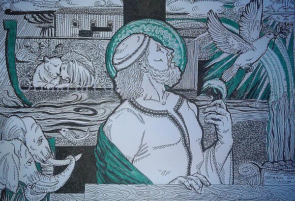 Noah Drawing -  Story Of Noah by Ottilia Zakany