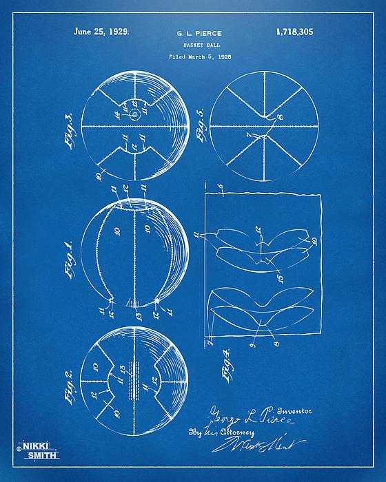 Basketball Digital Art - 1929 Basketball Patent Artwork - Blueprint by Nikki Marie Smith